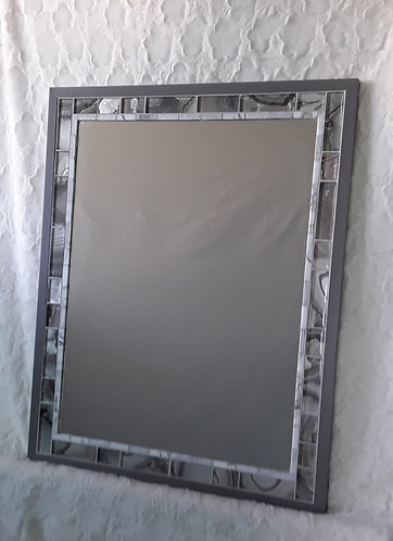 Gray and white tile mirror