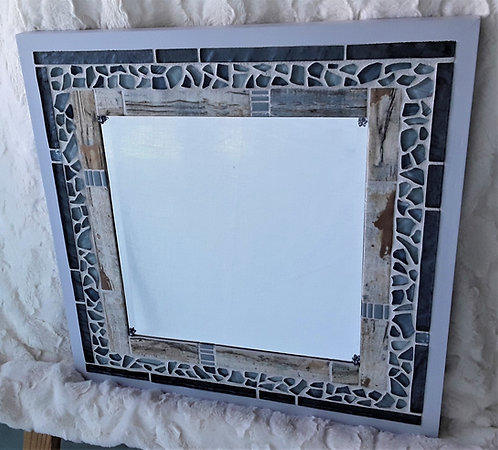 Small mirror with blue mosaic and driftwood tile
