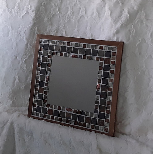 Natural stone, glass and copper mirror