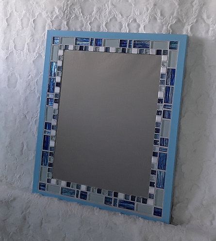 Bright blue, gray and white tile mirror