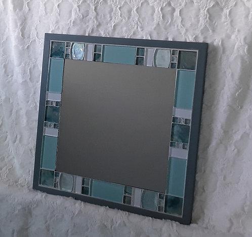 Aqua and white glass tile mirror