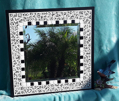 Black & White Mosaic Mirror