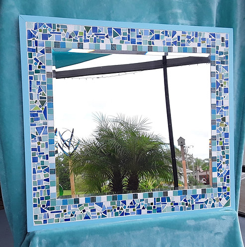 Mosaic Glass Mirror in blues and greens