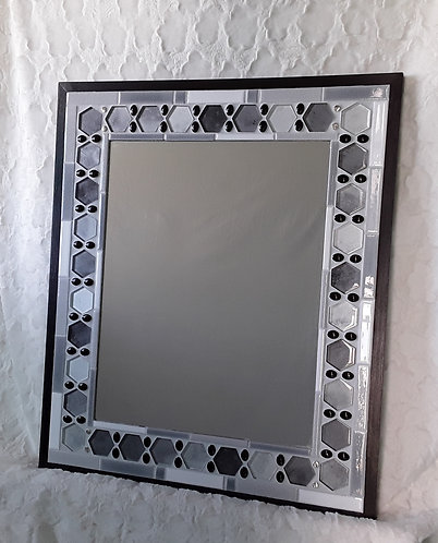 Shades of gray and white mirror with bead accent