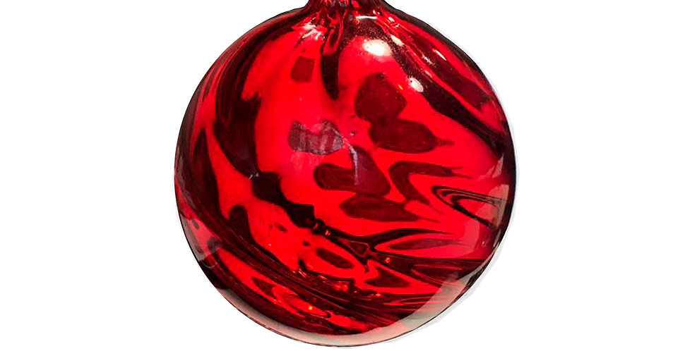 Шар D8 см, стекло, красный