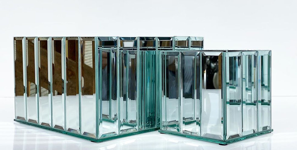 Зеркальная ваза, стекло
