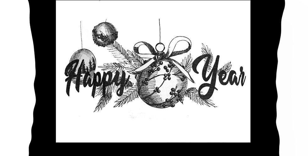 Подушка с принтом HAPPY YEAR 40х60 см, чёрный кант