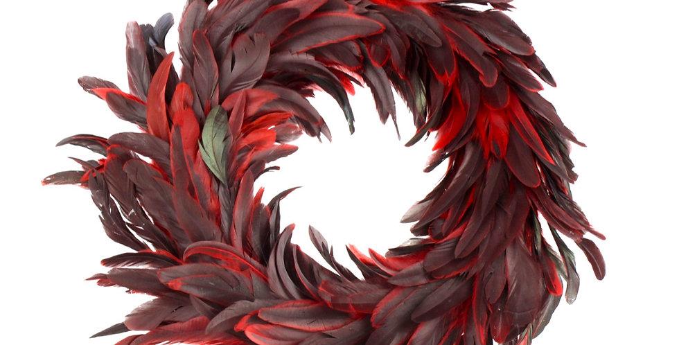 Венок из перьев D50 см, красный/чёрный