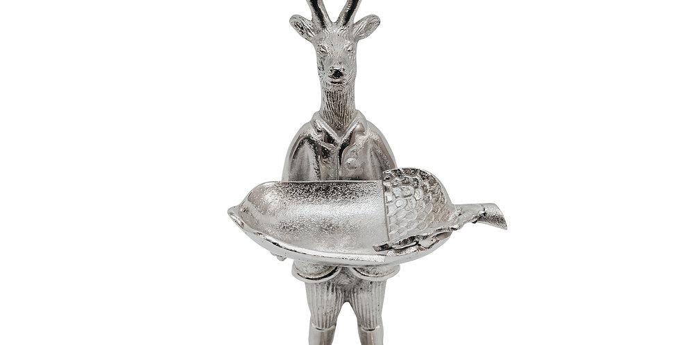 Фигура ОЛЕНЬ H37 см, металл, серебряный