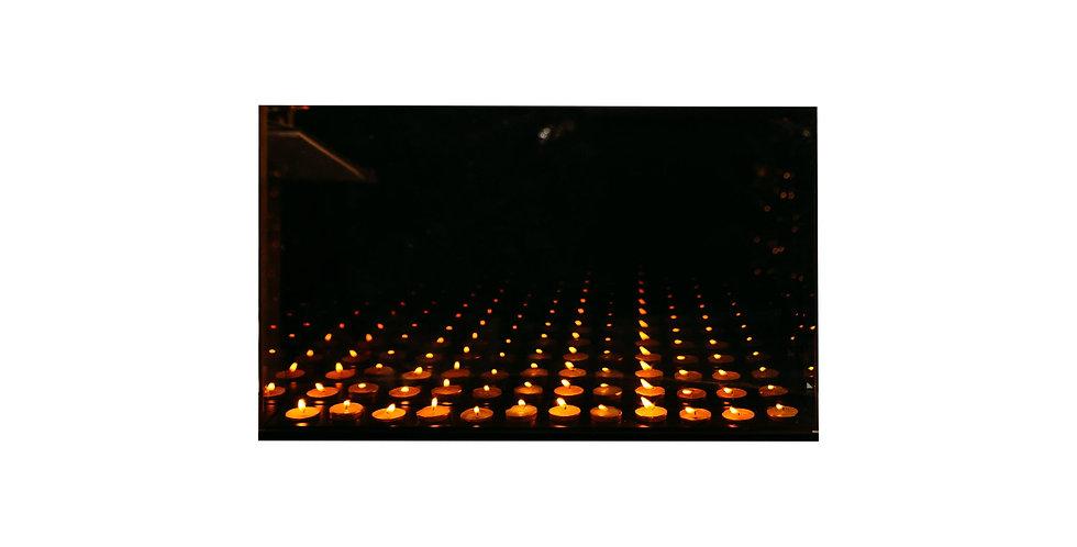 Подсвечник БЕСКОНЕЧНОСТЬ 65х8х40 см, на 12 свечей зеркало/дерево, серая дымка