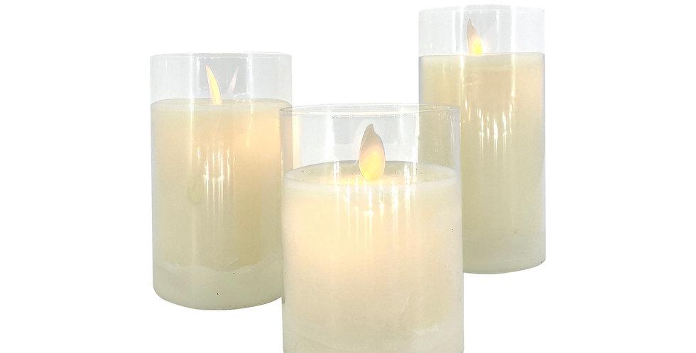 Свечи LED H10;12,5;15 см в комплекте, 3шт, пластик