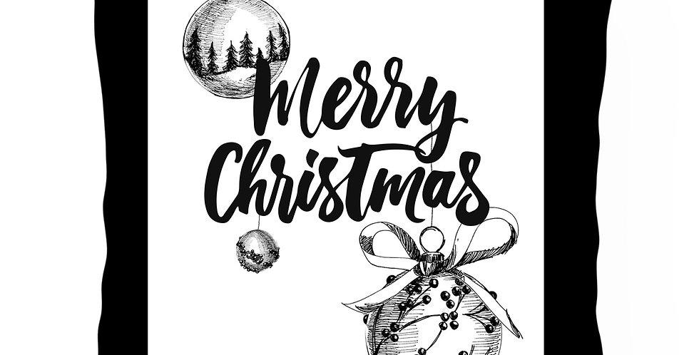 Подушка с принтом Merry CHRISTMAS 45х45 см, чёрный кант