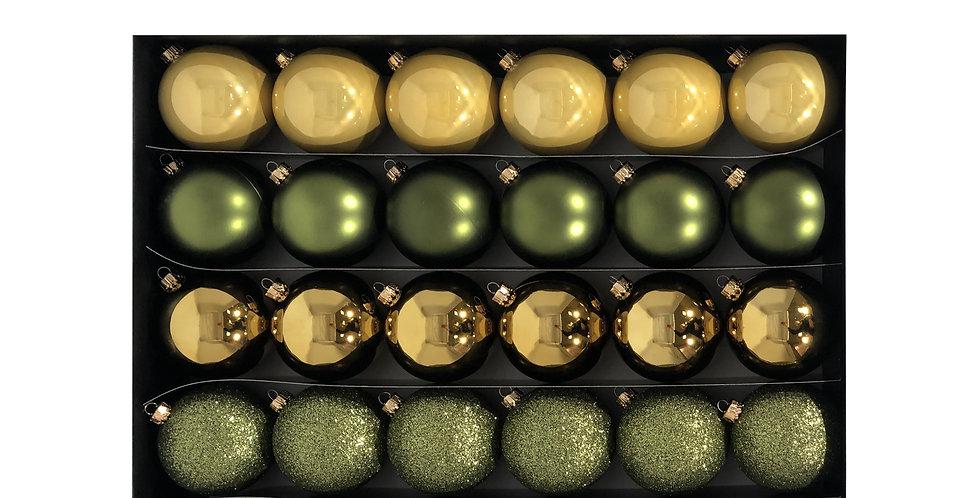 Шары D6 см в наборе, 30шт, пластик, золотой/зелёный/лиловый микс