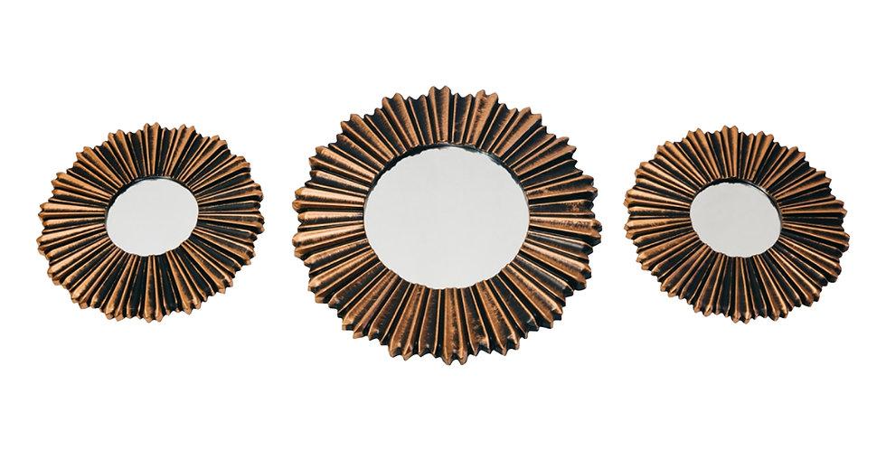 Зеркала 25;25;35 см в комплекте, 3шт, бронзовый