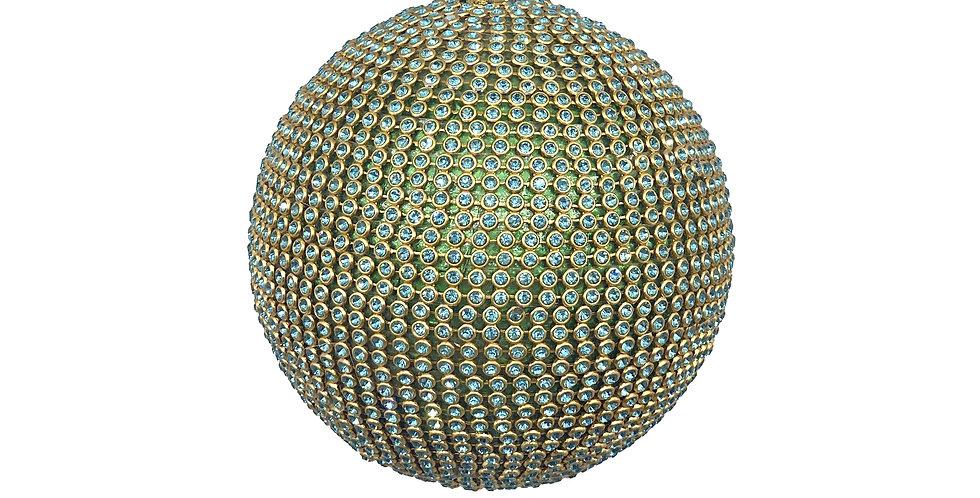 Шар D10 см c кристаллами, пластик, бирюзовый/золотой