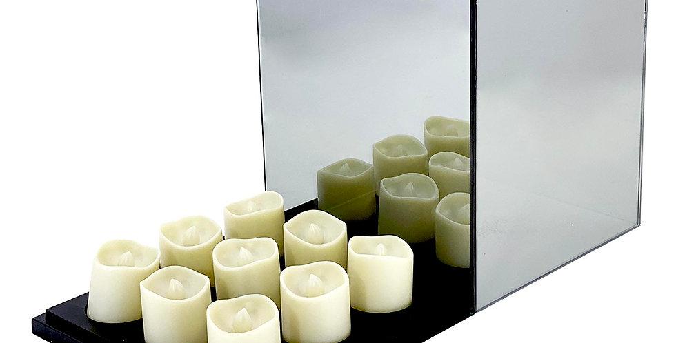 Подсвечник БЕСКОНЕЧНОСТЬ 18х18х21 см, на 9 свечей, зеркало/дерево, серая дымка
