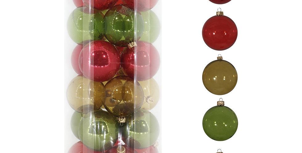 Шары D6 см в тубе, 24шт, пластик, зелёный/красный микс