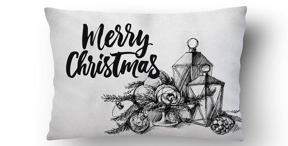 Подушка с принтом Merry CHRISTMAS 30х50 см