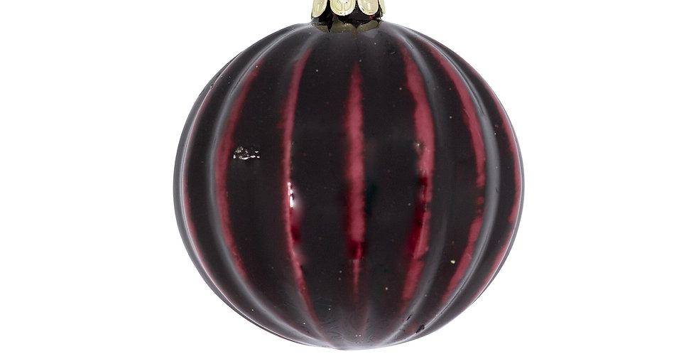 JF184308Шар D8 см, стекло, бордовый/чёрный