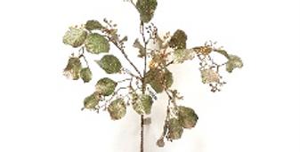 Ветвь эвкалипта H69 см, пластик, зеленый с розовым золотом