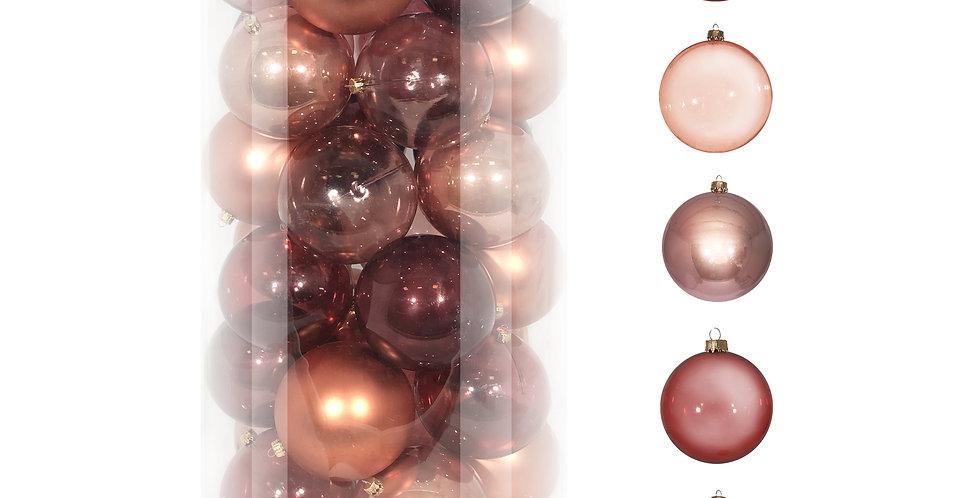 Шары D10 см в тубе, 30шт, пластик, розовый/бордовый микс