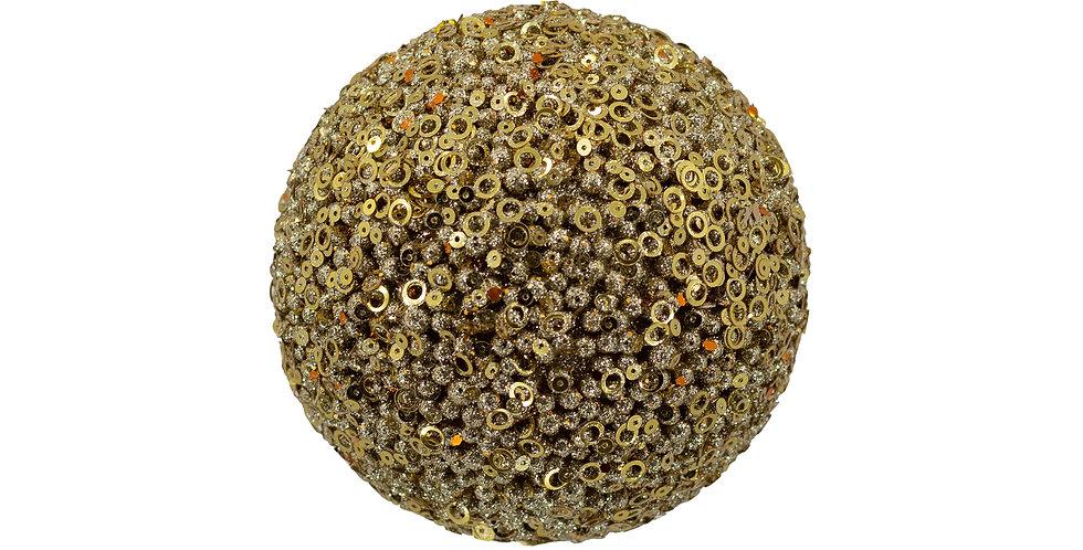 Шар D10 см, с пайетками, пенопласт, золотой