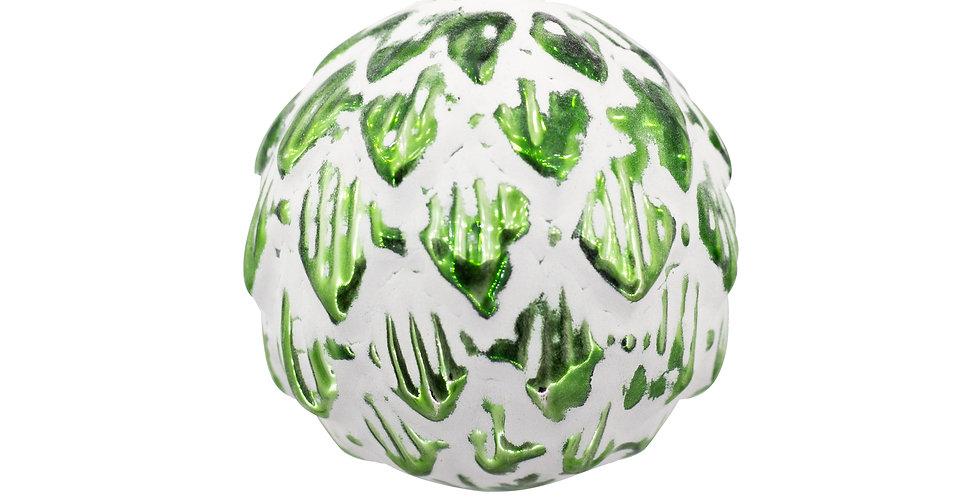 Шар заснеженный D10 см, стекло, зелёный