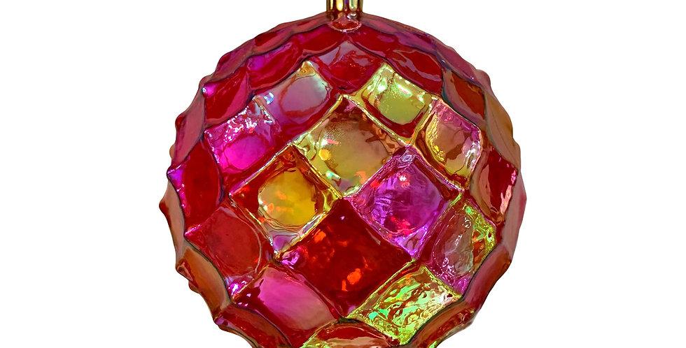 Шар D12 см, пластик, красный/радужный