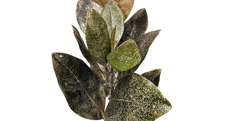 Ветвь магнолии H69 см, пластик, зеленый с розовым золотом