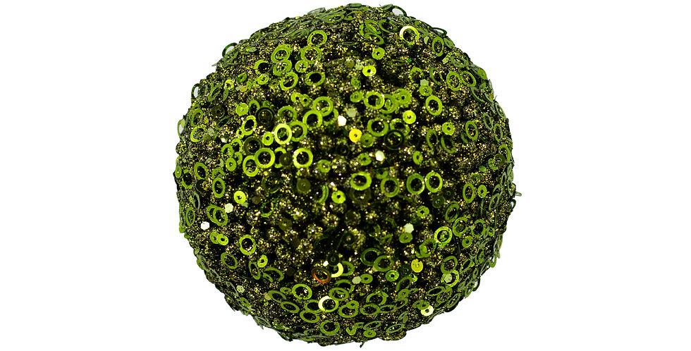 Шар с пайетками D10 см, пенопласт, зелёный/золотой