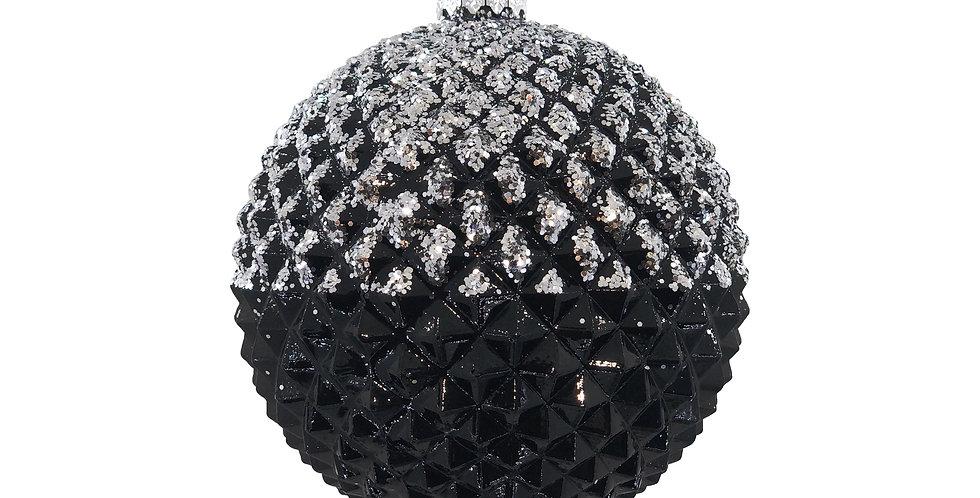 Шар D13 см, пластик, заснеженный, чёрный