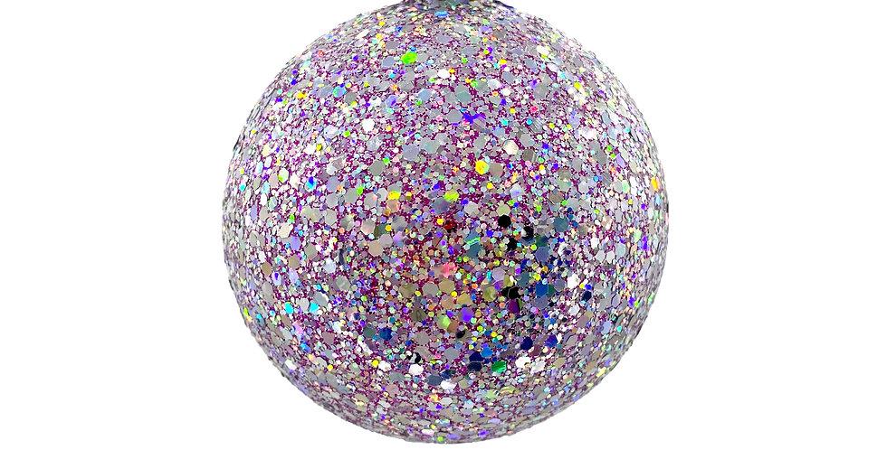 Шар в блётках D10 см, пластик, лиловый/радужный