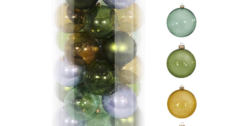 Шары D10 см в тубе, 30шт, пластик, голубой/зелёный/золотой микс