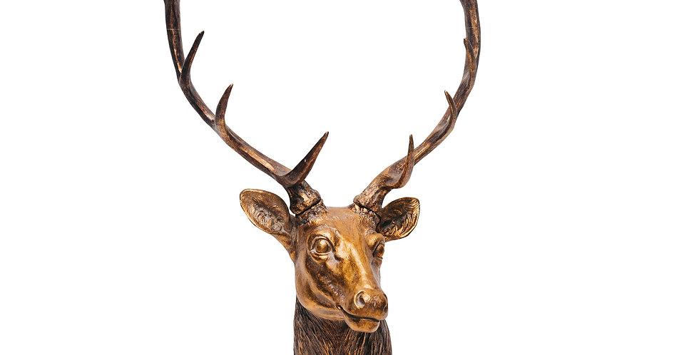 Фигура ГОЛОВА ОЛЕНЯ H90 см, полирезин, золотой