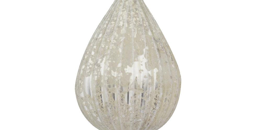 Шар ГРУША 7х10 см, стекло, серебряный