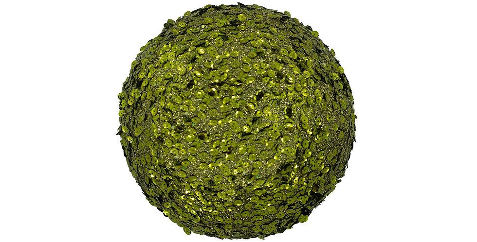 Шар D20 см, с пайетками, пенопласт, оливковый