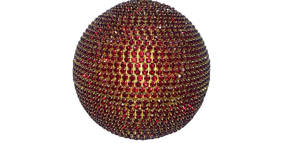 Шар c кристаллами, пластик, стекло, бордовый/золотой