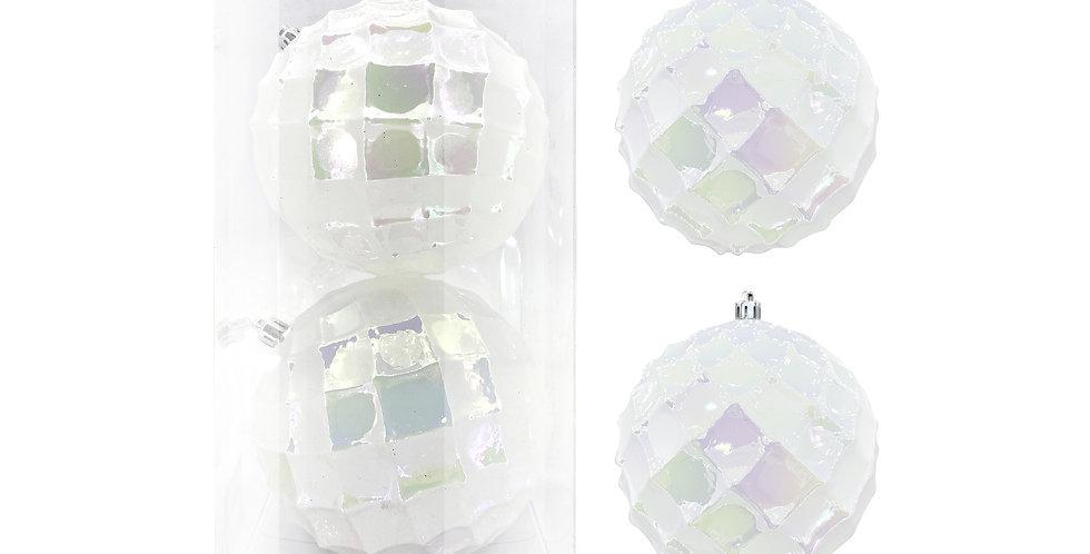 Шары D12 см в наборе, 2 шт, пластик, белый/радужный