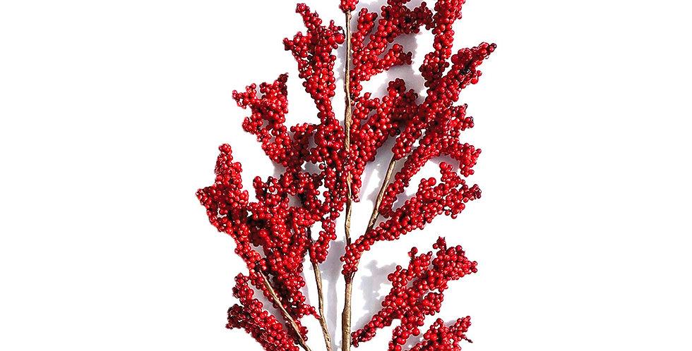 Ветка с ягодами H80 см, пластик, красный