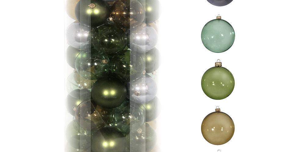 Шары D8 см в тубе, 55шт, пластик, зелёный/голубой/дымчатый микс