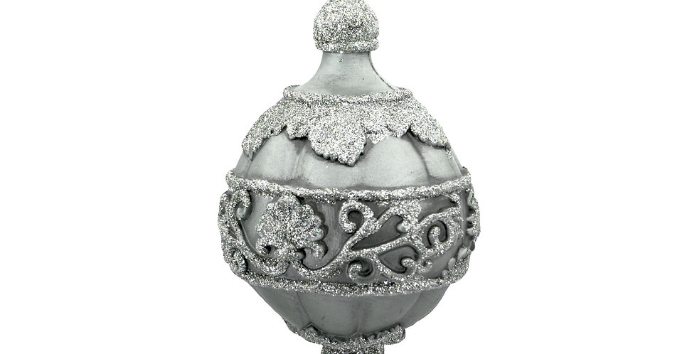 Шар D16.5 см, пластик, серебряный