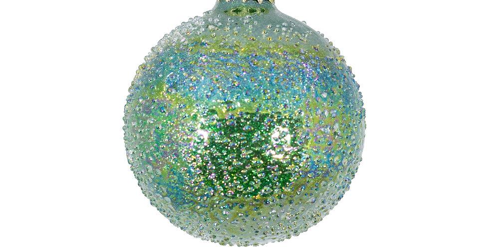 Шар засахаренный D8 см, стекло, изумрудный