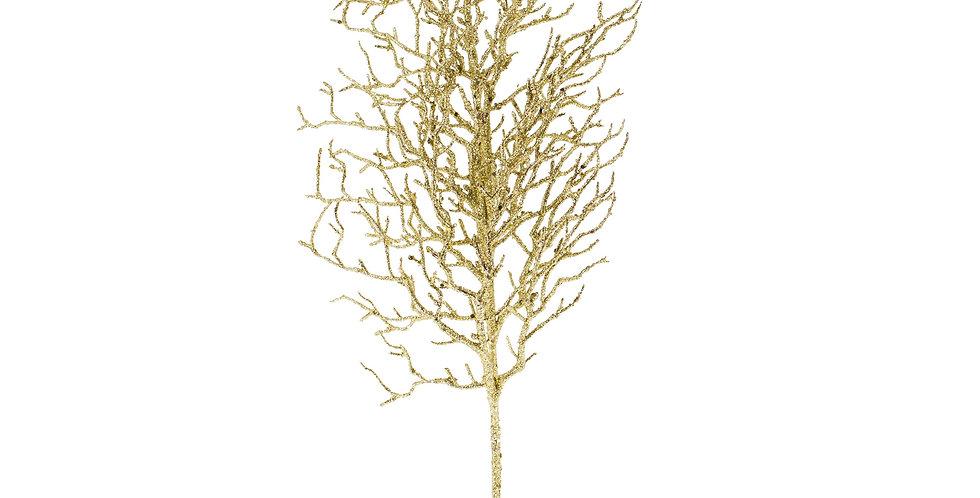 Ветка H75 см, с блёстками пластик, золотой