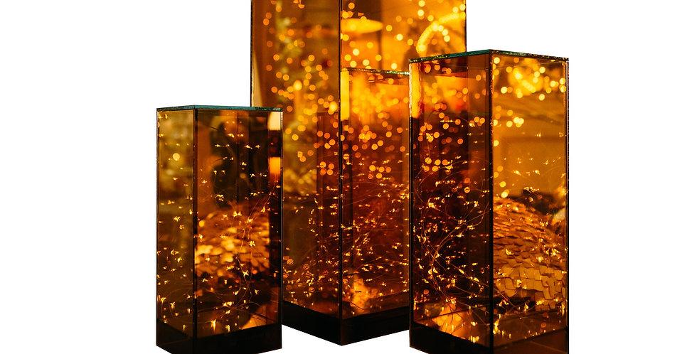 Подсвечник LED БЕСКОНЕЧНОСТЬ, стекло/дерево, золотой
