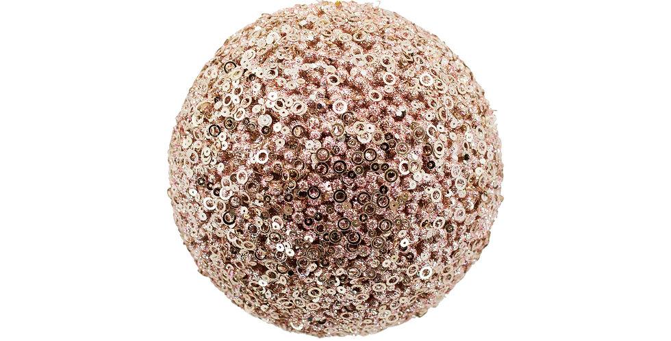 Шар D15 см, с пайетками, пенопласт, светло-розовый