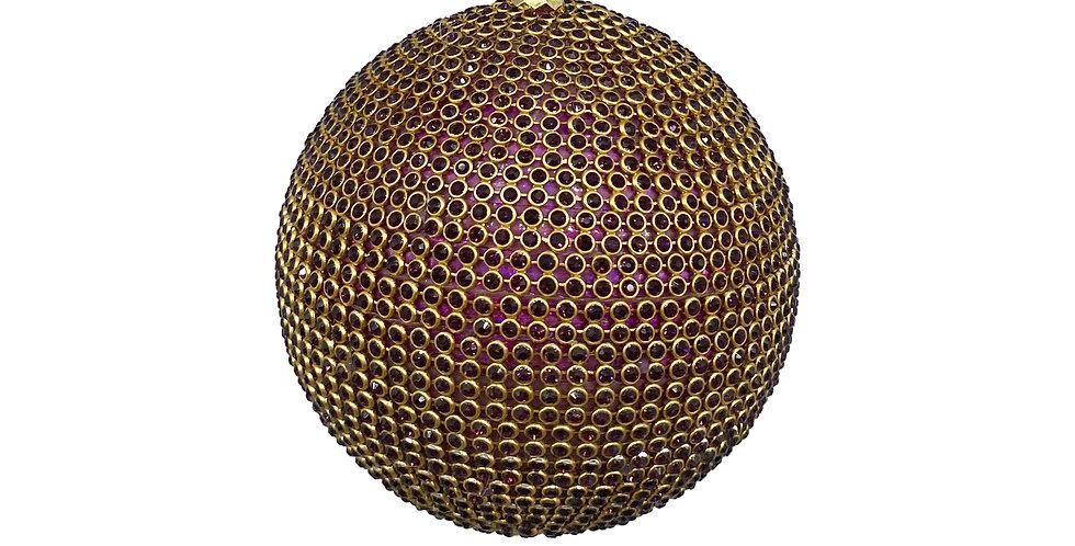 Шар D10 см с кристаллами, пластик, фиолетовый/золотой