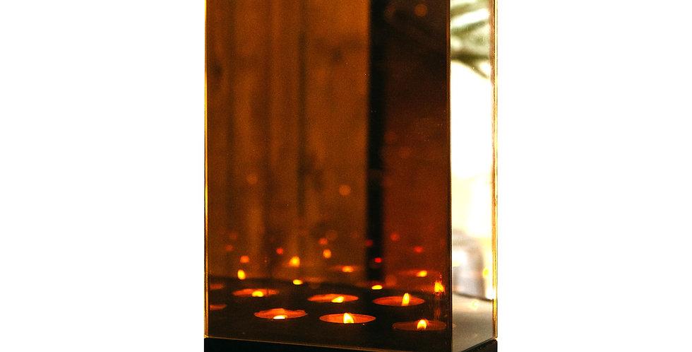 Подсвечник БЕСКОНЕЧНОСТЬ 18х8х25 см, на 3 свечи, зеркало/дерево, серая дымка