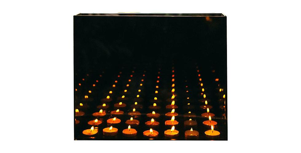 Подсвечник БЕСКОНЕЧНОСТЬ 38х8х32 см, на 7 свечей, зеркало/дерево, серая дымка