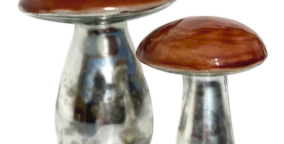 Фигура ГРИБ 6х9 см, стекло, коричневый/металлик