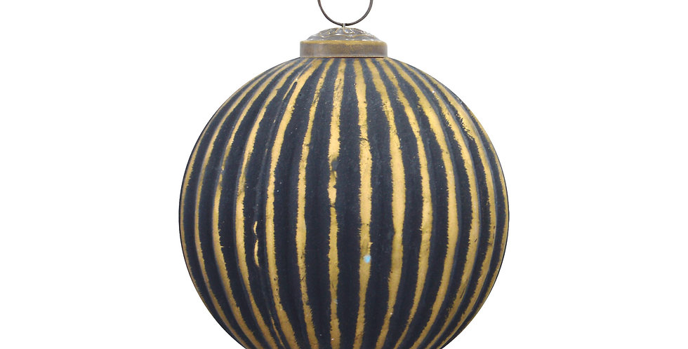 Шар D10 см, стекло, чёрный/золотой